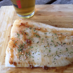 Grilled fresh halibut with apricot glaze