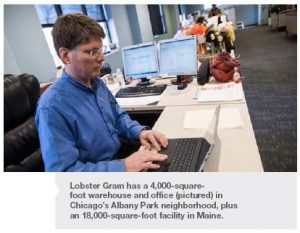 Lobster Gram has a 4,000-squarefoot warehouse and office (pictured) in Chicago's Albany Park neighborhood, plus an 18,000-square-foot facility in Maine.